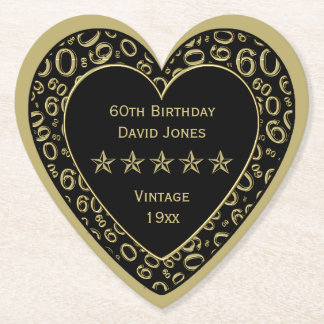 60th Birthday Party Gold and White Theme Paper Coaster