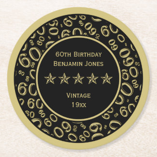 60th Birthday Party Gold/Black Round Pattern Round Paper Coaster