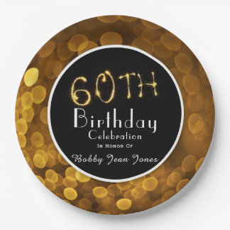 60th Birthday Party Gold Sparkle Paper Plate