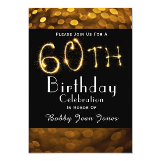 60th Birthday Party Gold Sparkler Card