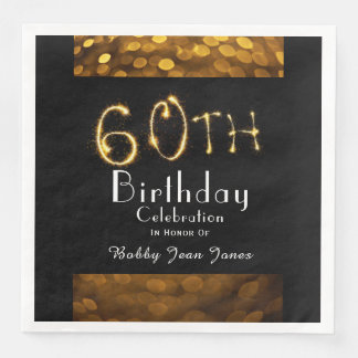 60th Birthday Party Gold Sparkler Disposable Napkins