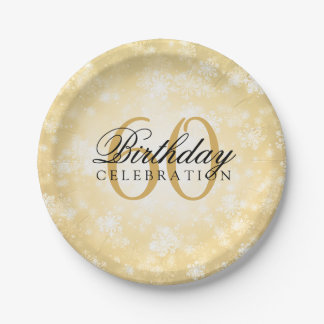 60th Birthday Party Gold Winter Wonderland Paper Plate
