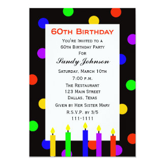 60th Birthday Party Invitation Candles and Dots