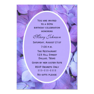 60th Birthday Party Invitation Hydrangea