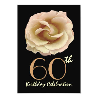 60th Birthday Party Invitation Large Gold Rose