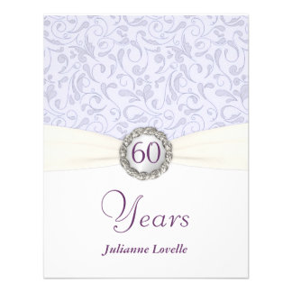 60th Birthday Party Invitations Lavender Damask