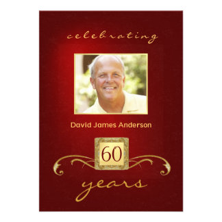 60th Birthday Party Invitations- Red Gold Monogram
