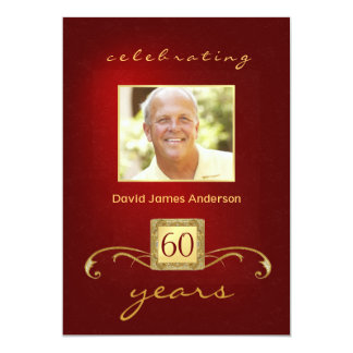 60th Birthday Party Invitations- Red Gold Monogram Card