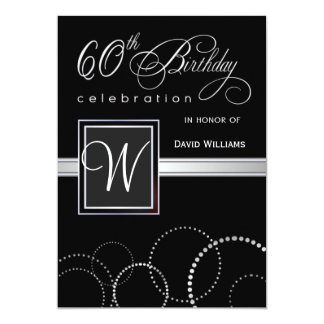 "60th Birthday Party Invitations - with Monogram 5"" X 7"" Invitation Card"