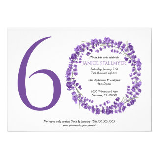 60th Birthday Party, Lavender flowers Card
