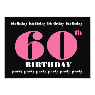 60th Birthday Party Template Pink and Black
