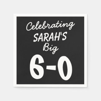 60th Birthday Personalized Black Party Napkins Disposable Napkins