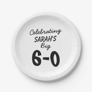 60th birthday Personalized Celebrating the Big 6-0 Paper Plate