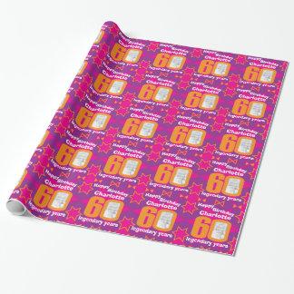 60th Birthday photo fun girls pink gift wrap