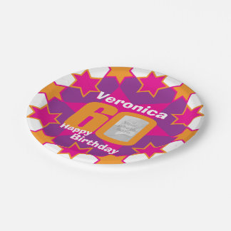 60th birthday photo name pink star paper plate