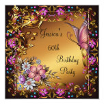 60th Birthday Pink Floral Butterfly Gold Black