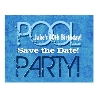 60th Birthday Pool Party Save the Date V060 Postcard