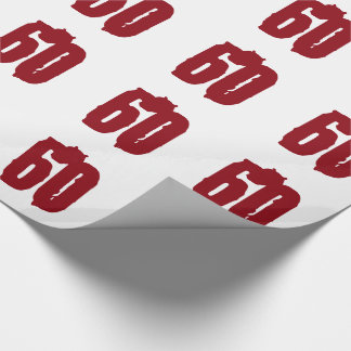 60th Birthday, red text on white. Wrapping Paper