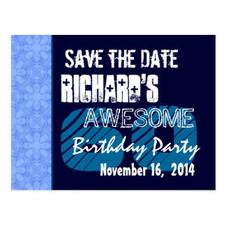 60th Birthday Save the Date Blue Pattern Postcard