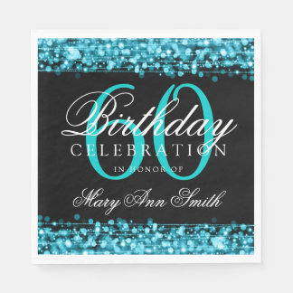60th Birthday Turquoise Bokeh Sparkle Lights Paper Napkin