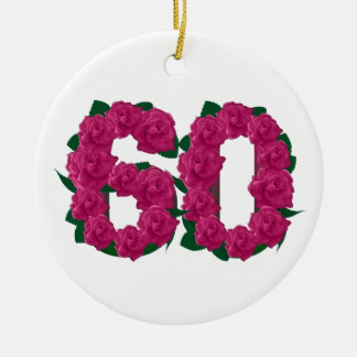 60th birthday wedding anniversary pink flowers round ceramic ornament