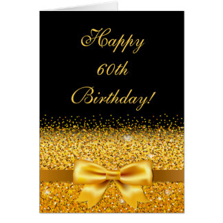 60th Birthday with golden bow and sparkle on black Card