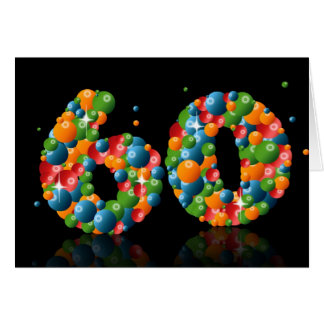 60th birthday with numbers formed from balls card