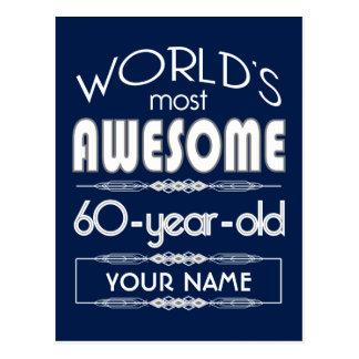 60th Birthday Worlds Best Fabulous Dark Blue Postcards
