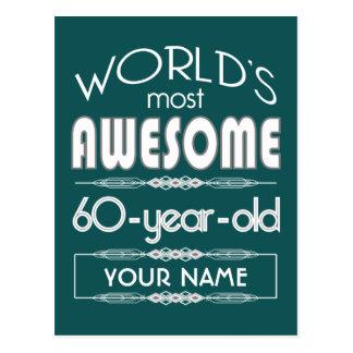 60th Birthday Worlds Best Fabulous Dark Green Postcard
