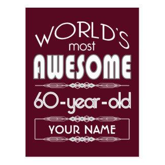 60th Birthday Worlds Best Fabulous Dark Red Postcards