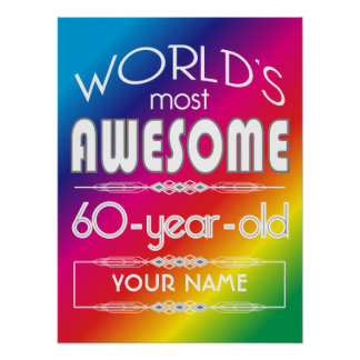 60th Birthday Worlds Best Fabulous Rainbow Poster