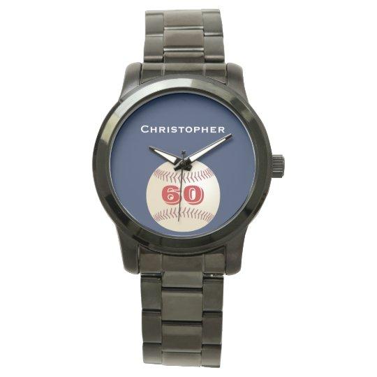 60th Birthday Wrist Watch, Personalized, Baseball Wristwatches