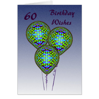 60th Blue Balloons Card