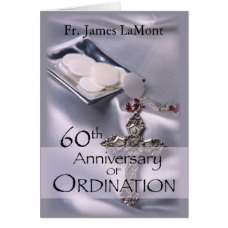 60th Custom Name Ordination Anniversary Silver Cha Card