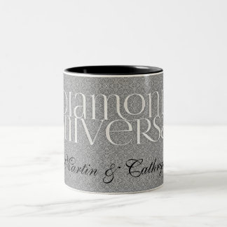 60th Diamond Anniversary Damask Custom Two-Tone Coffee Mug
