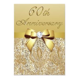 "60th Diamond Wedding Anniversary Faux Sequins Bow 5"" X 7"" Invitation Card"