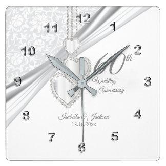 60th Diamond Wedding Anniversary Keepsake Square Wall Clock