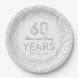 60th Diamond Wedding Anniversary Paisley Pattern 9 Inch Paper Plate