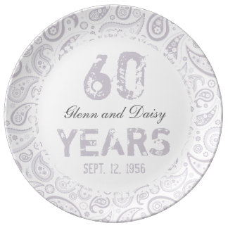 60th Diamond Wedding Anniversary Paisley Pattern Porcelain Plate