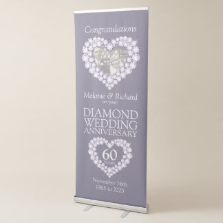 60th Diamond wedding anniversary photo heart Retractable Banner