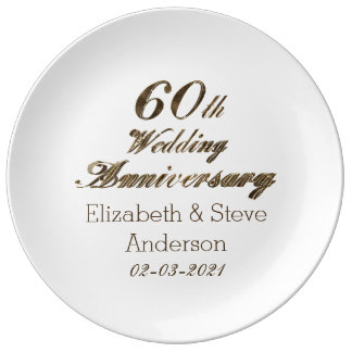 60th Diamond Wedding Anniversary Typography Porcelain Plate