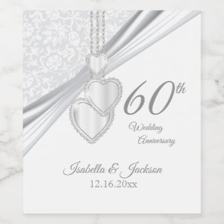 60th Diamond Wedding Anniversary Wine Label