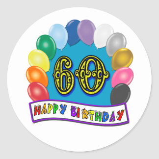60th Happy Birthday Balloons Merchandise Round Sticker