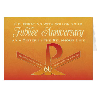 60th Jubilee Anniversary Nun Pax Cross, Orange and Card