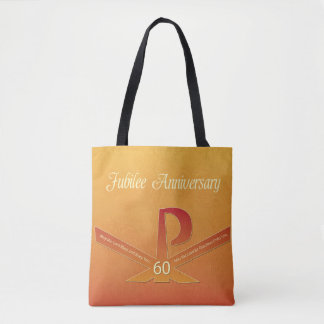 60th Jubilee Anniversary Nun Pax Cross, Orange and Tote Bag