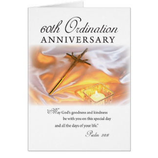 60th Ordination Anniversary, Cross Candle Greeting Card