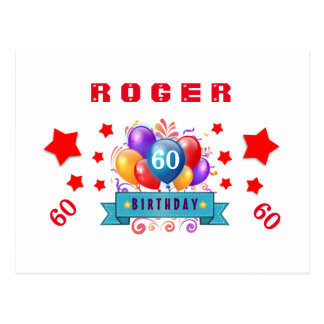60th Save Date Birthday Balloons and Stars S05 Postcard