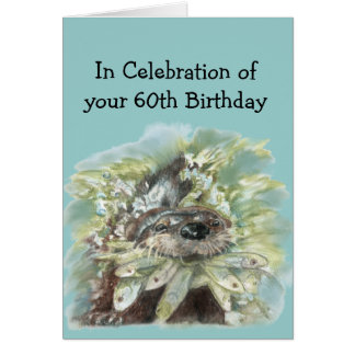 60th Sixty Birthday Humor Cute Watercolor Otter Card