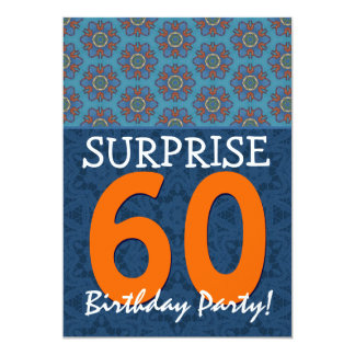 60th Surprise Birthday Blue and Orange Template Card