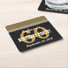 60th SURPRISE Birthday For Her A13 Black and Gold Square Paper Coaster